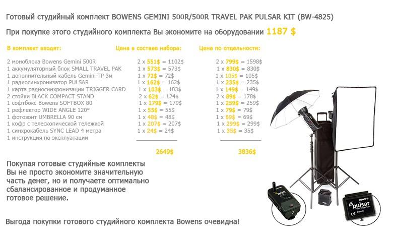 Купить -  Готовый студийный комплект BOWENS GEMINI 500R/500R TRAVEL PAK PULSAR KIT (BW-4825)