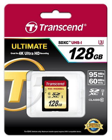 Купить -  Карта памяти Transcend Ultimate SDXC 128GB Class 10 UHS-I U3 R95/W65MB/s(TS128GSDU3)