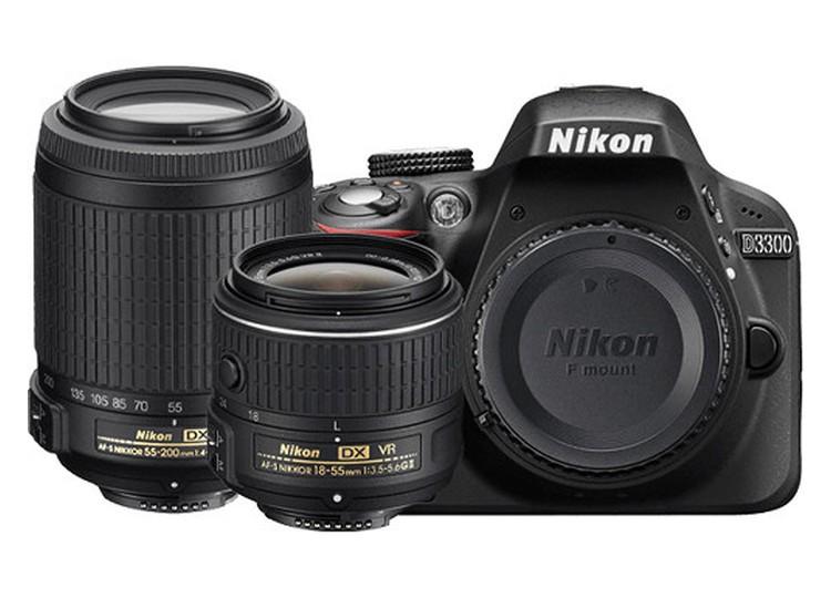 Купить - Nikon Nikon D3300 + объектив 18-55mm f/3.5-5.6G VR II + 55-200m VR II (Kit) Официальная гарантия!