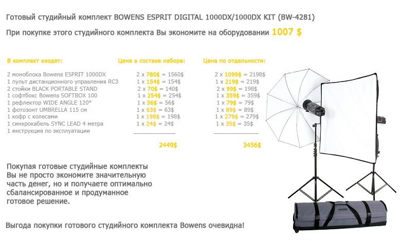 Купить -  Готовый студийный комплект BOWENS ESPRIT DIGITAL 1000DX/1000DX KIT (BW-4281)