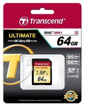 Купить -  Карта памяти Transcend Ultimate SDXC 64GB Class 10 UHS-I U3 R95/W60MB/s(TS64GSDU3)
