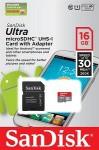 Фото -  Карта памяти SanDisk Ultra 16GB microSDHC Class 10 UHS-I 30MB/s Android(SDSDQUA-016G-U46A)