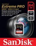 Фото -  Карта памяти SanDisk ExtremePro 64GB SDXC Class 10 UHS-II R280/W250MB/s 4K Video (SDSDXPB-064G-G46)