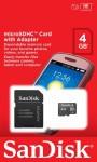 Фото -  карта памяти SANDISK microSDHC 4GB Class 4 + SD adapter (SDSDQM-004G-B35A)