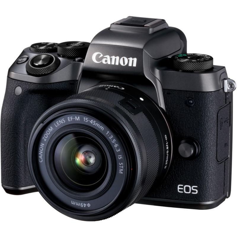 Купить - Canon Canon EOS M5 Kit  EF-M 15-45 IS STM Black + в подарок переходник EOS M – EOS EF