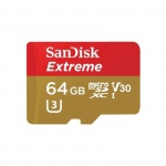 Фото -  Карта памяти SanDisk 64GB microSDXC V30 A1 UHS-I U3 R100/W60MB/s 4K Extreme + SD (SDSQXAF-064G-GN6MA)