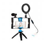 Фото - PowerPlant Комплект блогера Puluz PKT3025L 4в1 (кольцевой свет, крепление, держатель для телефона, микрофон) (PKT3025L)