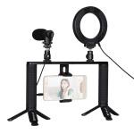 Фото - PowerPlant Комплект блогера Puluz PKT3028 4в1 (кольцевой свет, крепление, держатель для телефона, микрофон) (PKT3028)
