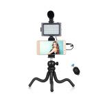 Фото - PowerPlant Комплект блогера Puluz PKT3094B 4в1 (свет, крепление, держатель для телефона, микрофон) (PKT3094B)